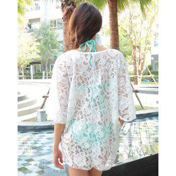 Sexy V-Neck 3/4 Sleeve Hollow Out Solid Color Women's Cover Up - WHITE ONE SIZE(FIT SIZE XS TO M)