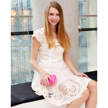 Noble Square Neck High Waist Lace and Gauze Spliced Ball Gown Dress For Women - OFF WHITE S