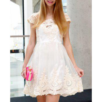 Noble Square Neck High Waist Lace and Gauze Spliced Ball Gown Dress For Women