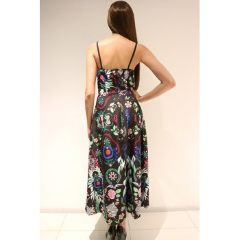 Ethnic Style Printed Spaghetti Strap Sleeveless Maxi Dress For Women - GREEN S