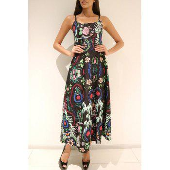 Ethnic Style Printed Spaghetti Strap Sleeveless Maxi Dress For Women