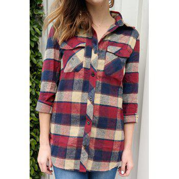 Fashioanble Women's Shirt Collar Plaid Long Sleeve Shirt