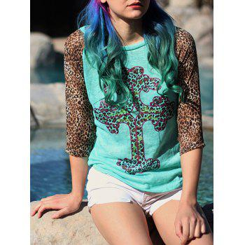 Leopard Print Women Scoop Neck 3/4 T-shirt à manches