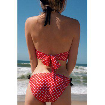 Women's Charming Polka Dot Print Lace Up Wrapped Chest One Piece Swimsuit - XL XL