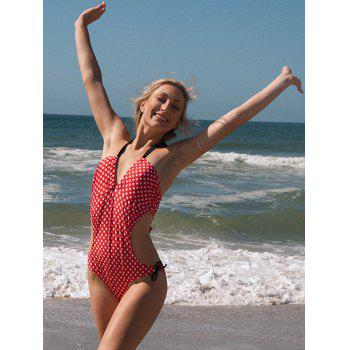 Women's Charming Polka Dot Print Lace Up Wrapped Chest One Piece Swimsuit - RED RED