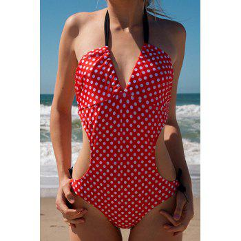 Women's Charming Polka Dot Print Lace Up Wrapped Chest One Piece Swimsuit