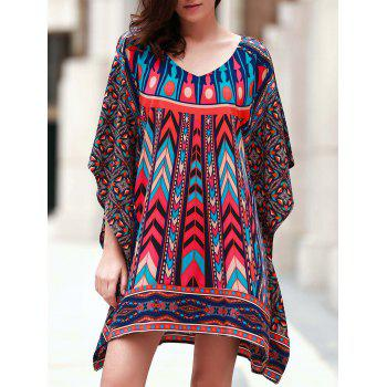 Vintage 3/4 Batwing Sleeve V Neck Printed Women's Dress