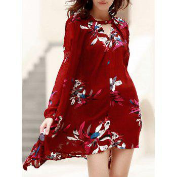 Long Sleeve Floral Asymmetrical Dress
