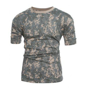 Slim Fit Camo Short Sleeves Round Collar T-Shirt For Men