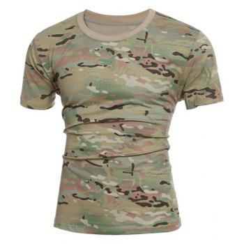 Slimming Camo Short Sleeves Round Collar T-Shirt For Men