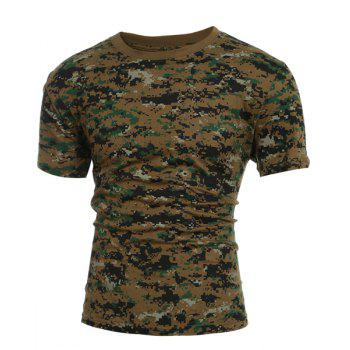 Slimming Round Collar Short Sleeves Camo T-Shirt For Men