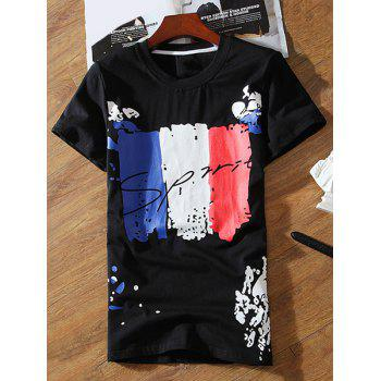 Color Lump Letters Pattern Round Neck Short Sleeves Men's T-Shirt