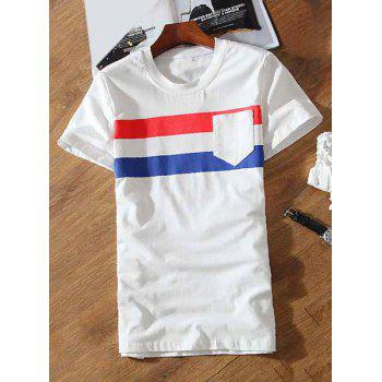 One Patch Pocket Stripes Pattern Round Neck Short Sleeves Men's T-Shirt