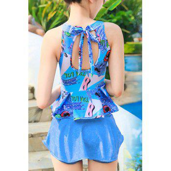 Stylish Women's High Neck Print Backless Ruffled Tankini Set