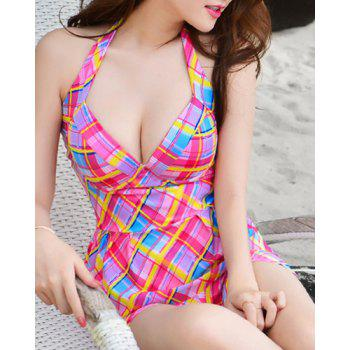 Trendy Halter Plaid Push Up Two-Piece Women's Swimsuit