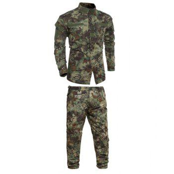 Pockets Men's Stand Collar Camo Printing Training Suits (Jacket+Pants)