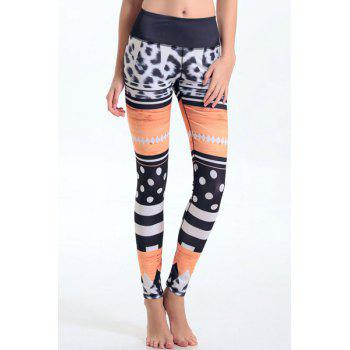 Trendy Elastic Waist Geometrical Leggings For Women