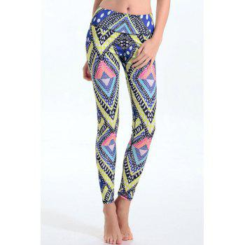 Trendy Elastic Waist Geometrical Print Leggings For Women