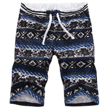 Buy Casual Straight Leg Tribal Print Men's Lace-Up Shorts COLORMIX