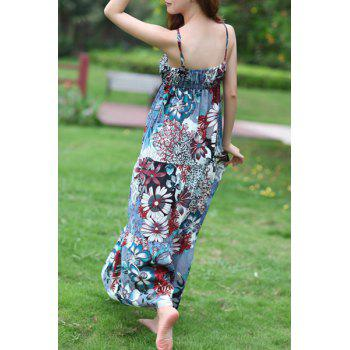 Bohemian Spaghetti Strap Lace-Up Floral Print Women's Dress - COLORMIX ONE SIZE(FIT SIZE XS TO M)