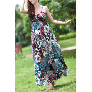 Bohemian Spaghetti Strap Lace-Up Floral Print Women's Dress