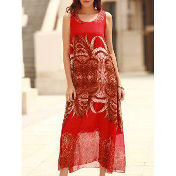 Bohemian Sleeveless Horns Print Dress