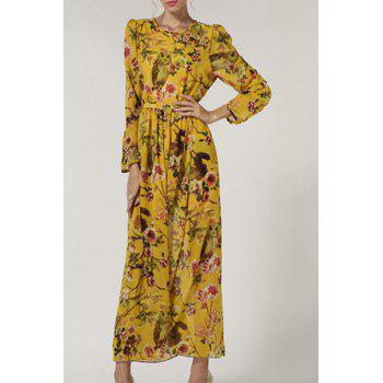 Bohemian Style Floral Print Long Sleeve Women's Dress