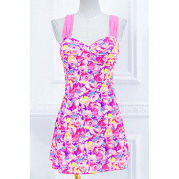 Trendy Women's Sweetheart Neckline Push-Up Floral Print One-Piece Swimsuit
