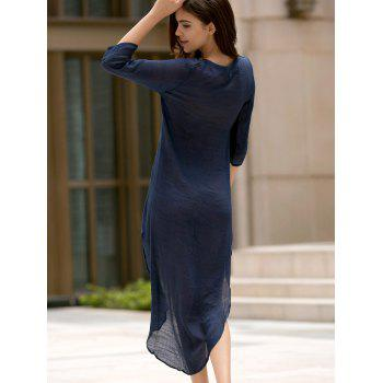 Fashionable Plunging Neck 3/4 Sleeve Lace-Up High-Low Hem Women's Dress - DEEP BLUE 2XL