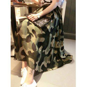 Stylish Camouflage Print Chiffon Women's Full Skirt
