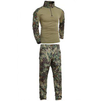 Men's Stand Collar Half Zip Outdoor Frog Camo Suits(T-Shirt +Pants) - CAMOUFLAGE L