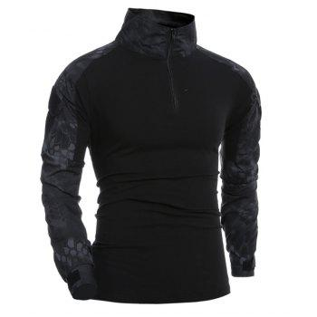 Outdoor Pullover Half Zip Long Sleeves T-Shirt For Men - BLACK 2XL