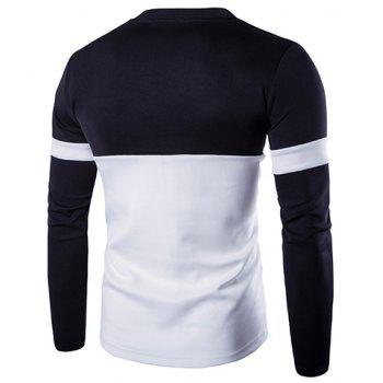 Sports Round Neck Hit Color Spliced Letter Pattern Long Sleeve Men's T-Shirt - M M
