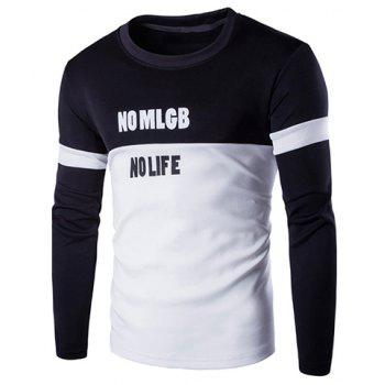 Sports Round Neck Hit Color Spliced Letter Pattern Long Sleeve Men's T-Shirt - BLACK M