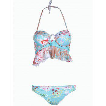 Sweet Floral Print Strapless Hollow Out Two-Piece Women's Swimsuit