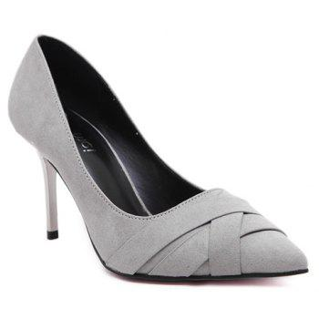 Graceful Pointed Toe and Flock Design Women's Pumps