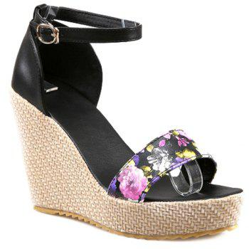 Trendy Floral Print and Platform Design Women's Sandals