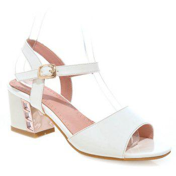 Trendy Solid Colour and Patent Leather Design Women's Sandals