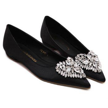 Graceful Heart Pattern and Rhinestone Design Women's Flat Shoes - 38 38