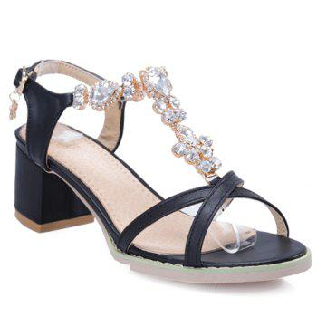 Trendy Solid Colour and Rhinestones Design Women's Sandals