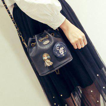Fashionable Embroidery and Buttons Design Women's Shoulder Bag - BLACK