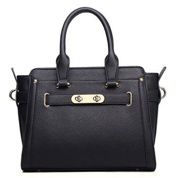 Stylish Lock and Solid Colour Design Women's Tote Bag
