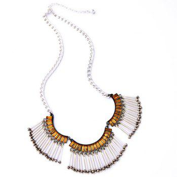 Faux Crystal Pendant Necklace - BROWN