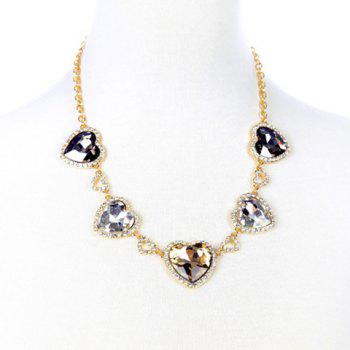 Charming Exaggerated Faux Crystal Heart Necklace For Women