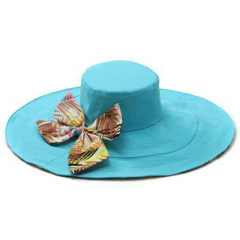 Chic Big Bowknot Leaf Pattern Bottom Women's Reversible Sun Hat