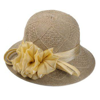 Chic Handmade Yarn Flower Women's Knitted Rhombus Bucket Hat