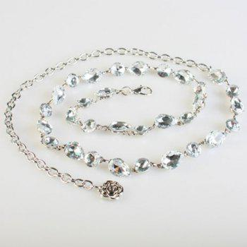 Fashionable Sparkling Crystals Decorated Alloy Waist Chain For Women