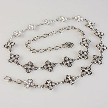 Fashionable Rhinestones Decorated Flowers Pattern Alloy Waist Chain For Women