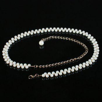 Fashionable Pearls Decorated Alloy Waist Chain For Women