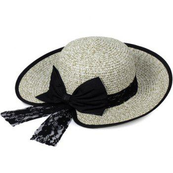 Chic Bow and Lace Embellished Black Covered Edge Women's Straw Hat